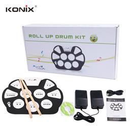 Wholesale KONIX Hot Electronic Drum Set USB MIDI Machine Roll up Drums kits With Drum Sticks Drum Pad Srum MD758