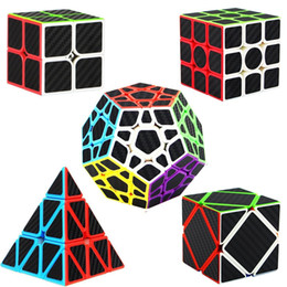 Speed Cube 2x2 3x3 4x4 Pyraminx Megaminx Skewb Carbon Fiber Sticker Magic Cube Puzzle Toy for Kids Intelligence Development
