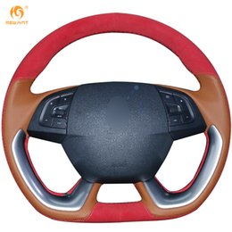 Mewant Light Brown Leather Red Suede Car Steering Wheel Cover for Citroen DS5 DS 5 DS4S DS 4S