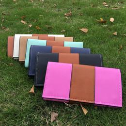 Venta al por mayor de productos de regalo en blanco Mixed Order PU Wallet Patchwork PU Material 7 colores disponibles Faux cuero tarjeta monedero monedero DOM488 desde monedero de cuero de imitación al por mayor fabricantes