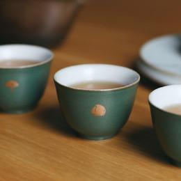 The colour green glaze master cup coarse pottery mud - jingdezhen ceramic sample tea cup small kung fu tea cup