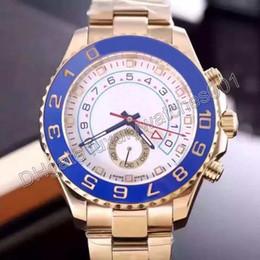 2016 caliente regalo de Navidad mecánico automático maestro 2 reloj movimiento hombre acero inoxidable bisel azul oro caso blanco dial mens reloj de pulsera desde esfera blanca para hombre de los relojes automáticos fabricantes