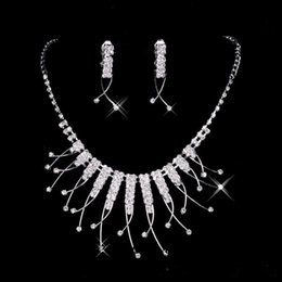 Whole Cheap Bridal Jewelry Sets Crystal Pendants Necklaces Drop Chandelier Stud Rhinestones Earrings Singapore For Party Prom Under 5