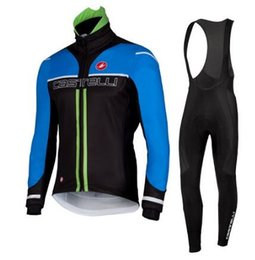 Wholesale Castelli Autumn - 2016 Castelli Bule Cycling Jerseys Warm Long Sleeve Bike Clothing Equipo De Ciclismo Autumn Bicycle Clothes Cycling Clothes Bib Pants