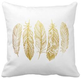 Купить Онлайн Племенные печатные издания-Faux Gold Feather Tribal Print Pillow Case, Квадратные накладки на диванные подушки, «16inch 18inch 20inch», Пакет X