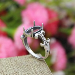 Wholesale Art Nouveau Sterling Silver Fashion Ring x12mm Oval Cabochon Semi Mount Fine Silver Ring Setting