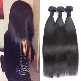 "Brazilian Hair Weft Weave 100% Unprocessed Hair 8""-30"" Straight Natural Color Hair Extensions 3pcs lot Soft Full Double Weft 50g pc"