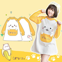 Wholesale New Fashion Design D Cat Lolita Cosplay Costume Hoodie Woman Cute Long Style Pullover Sweatershirts Yellow Banana Kawaii Coat Jacket