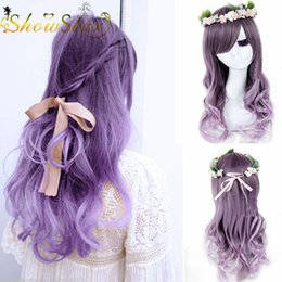 Lovely Lolita Dark Purple Ombre Wig Cosplay Long Wavy Curly Braided Wigs Heat Resistant Synthetic Wigs Halloween Party Wig 70cm Cosplay wome