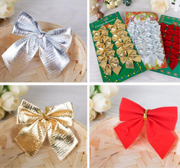 Wholesale Silver Articles Wholesale - christmas tree Decoration Bow Articles Pendant Small bow ornament For Christmas Party Tree Hanging red gold silver 3 colors available