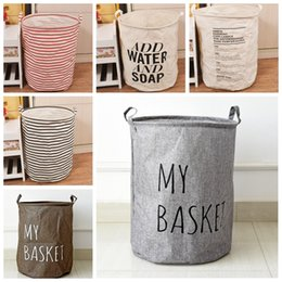 Wholesale Laundry Hamper Bag Large Storage Washing Clothes Storage Basket Useful Zakka Cotton Linen Basket Box Children Toy Organizer Bucket Bin F103