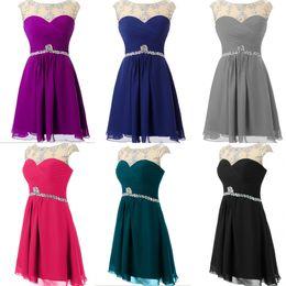 Wholesale Short Prom Dresses Red Black Chiffon Crystal Knee length Cheap prom dress Plus Size Accept vestidos de baile Formatura HY1303