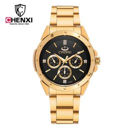2017 fashion Quartz Watch CHENXI Men Watches Top Brand Luxury Famous Male Clock Wrist Watch Relogio Masculino Golden Steel Watch