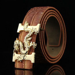 Wholesale Fashion men s leather belt Dragon totem punk rock style heavy metal buckle wild Hip hop Belt Chinese dragon belt for Men gift