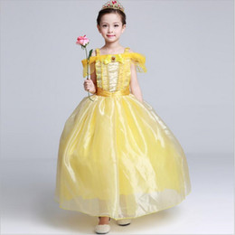 Wholesale Classic Girls Dress Princess Belle Gorgeous Party Dress Kids Girls Tulle Tutu Lovely Skirts Costume Baby Girls Formal Dress Costume GD24