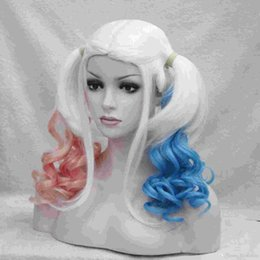 2017 Suicide Squad Harley Quinn Gradient Curly Pink Blue Ponytail Cosplay Costume Halloween wig