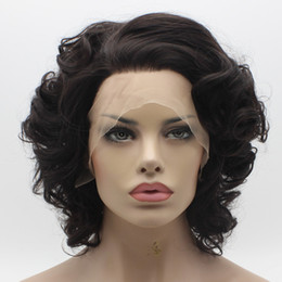 Iwona Hair Wavy Short Dark Brown Wig 24#2 6 Half Hand Tied Heat Resistant Synthetic Lace Front Wig