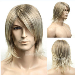 ePacket free shipping>New Man Wigs Male Fashion Excellent Fiber Synthetic Blonde Mix Men Wig