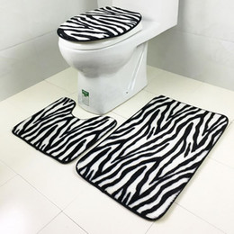 Promotion ensembles de toilette en coton Vente en gros - 1 Set Lavable Carrelage de salle de bain Tapis de toilette Toilette Tapis de douche Tapis de matelas en coton doux Tapis de bain WA288 T72