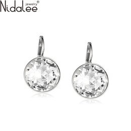 Wholesale Nidalee White Bella Crystal Earrings For Women Real Crystal From SWAROVSKI Fashion Stud Earrings Party Jewelry Accessories