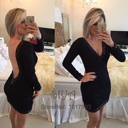 2017 robe de conception en cristal court Sexy Little Black Cocktail Dresses 2017 Deep V Neck Long Sleeve Short Mini dernière robe design Special Occasion Dress for Women promotion robe de conception en cristal court
