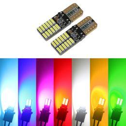 LEEWA 2pcs T10 194 168 W5W No Error 4014 24 LED Canbus Car Side Lamp Wedge Light Bulb 7-Colors SKU:2733