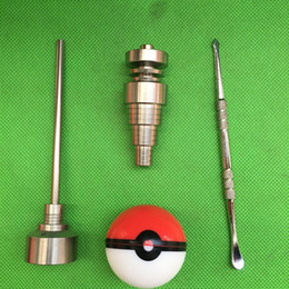 Wholesale Glass Bong Tool Set with Pokeball Container Jar mm mm mm Adjustable Domeless GR2 Titanium Nail Carb Cap Dabber Tool for glass pipe