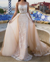 Wholesale 2017 Champagne Prom Dresses Ivory Lace Appliqued over Champagne Sheath Crew Illusion Neckline Evening Dresses with belt detachable Overskirt