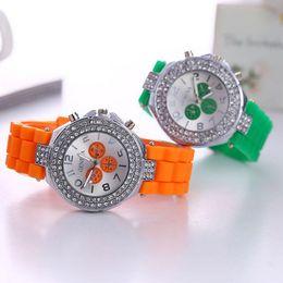 Classic Cystal Women Geneva Watches Double Diamond watch Three eyes Dial decoration silicone strap Shiny watches Fashion Geneva Quartz watch