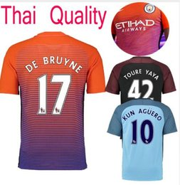 Wholesale 2016 Manchester City Suit Jerseys home Blue Away Black KUN AGUERO SANE GUNDOGAN Shirts
