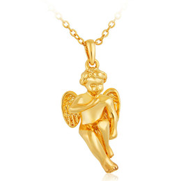 Fashion Necklace For Women Girls Angel Cupid Charm Necklaces & Pendants 18k Gold Plated Wholesale Jewelry Valentine's Gift Free shipping