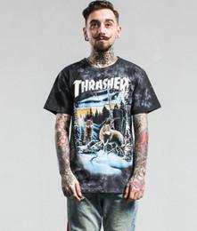 Wholesale Thrasher T shirt Homme Fantasy Forest Animaux Snow Wolf imprimé en coton manches courtes Streetwear Skateboards Thrasher Tee Shirt
