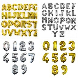 Wholesale 16inch Silver Gold Color Alphabet Letters A Z Number Foil Balloon DIY Aluminum Balloons Birthday Party Wedding Decorations Balloons