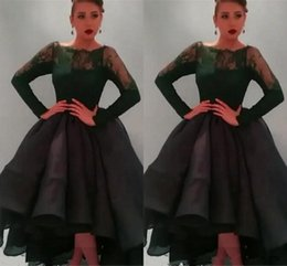 Wholesale 2017 Best Selling Sheer Neck Long Sleeve Prom Dresses Tea length Ruched Organza Ball Gown Evening Party Gown