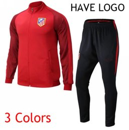 Wholesale 2016 Full zipper Jacket Soccer Pants Equipment Madrid atletico Tracksuit Football survetement New Men Adults Track suits chandal