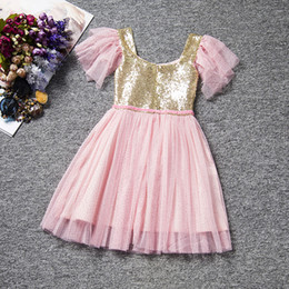 2017 european and american style sequins ball gown girl party dress children new model girl dress