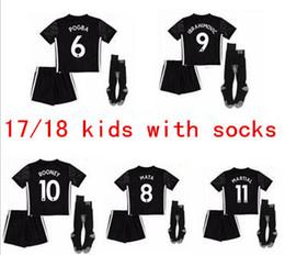 2017 2018 Man United kids boy with socks away black jerseys 17 18 Ibrahimovic MEMPHIS ROONEY POGBA kit Soccer jersey Free shipping