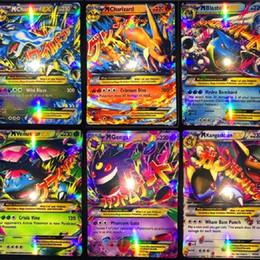 Mega tv en venta-2017 Más vendido Pikachu Ex Tarjetas 80 EX Tarjetas ordinarias + 20 MEGA más fuertes Tarjetas Japón Charizard Cartes Pikachus juguetes para niños
