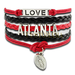 Wholesale Custom Infinity Love Atlanta Football Charm Wrap Bracelet Multilayer Falcons Football Black Red Leather Women s Fashion Jewelry