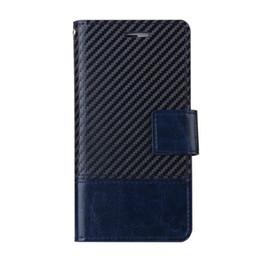 Acheter en ligne À double bourse de portefeuille-Pour l'iphone 7 i7 iphone7 plus cas cuir portefeuille TPU hybride fibre de carbone pochette stand double couleur photo carte de crédit couverture couverture luxe