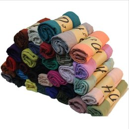 Promotion foulards en coton de marque de gros Grossiste-180 * 90CM Cachecol Feminino 2015 hiver Brand new Designer de mode solide long mélange de coton écharpe occasionnels femmes écharpes
