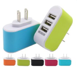 Wall charger Travel Adapter For Iphone 7 Colorful Home Plug LED USB Charger For Samsung S6 3 ports usb charger No Package