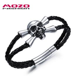 Gros hommes soutien-gorge à vendre-Wholesale- MOZO FASHION Hommes Punk Crâne Bijoux Bracelet en Cuir Noir Bracelet en acier inoxydable Squelette Design Bra Homme Bracelet Cool MPH1025
