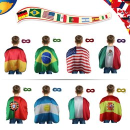 L27*National flag for football match World Cup country game National Day for kids cosplay costumes 1set=8 cape+8 mask
