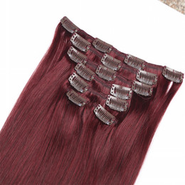 hot selling 9A virgin brazilian straight clip in human hair extensions #118 red wine color human hair clip on weaves high quality hair