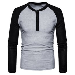 Free Shipping US Size S-2XL High Quality 2017 New Fall Fashion Casual Men's Spell Color Long-sleeved T-shirt Big Yards