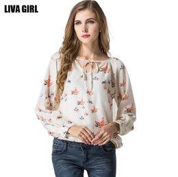 Wholesale 2017 Fashion Spring Summer Autumn Women Loose Long Sleeve Floral Chiffon Shirt White Woman Casual Printed Flowers Blouse T-shirt