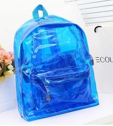 La moda bolsas de plástico transparentes en Línea-Bolso plástico claro del recorrido de Bookbag del morral del nuevo de la manera de la alta calidad 2016 del morral transparente de las mujeres bolsos de pvc