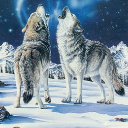 Wholesale Modern Unique Home Decoration Gift DIY Diamond Painting Without Frame Animal Wolves Cross Stitch Full Diamond Kits for Embroidery A2166