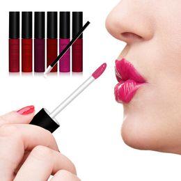 Descuento conjunto de maquillaje cepillo de bajo precio El maquillaje de los cepillos del labio del labio del lustre líquido a prueba de agua impermeable 6pcs del precio al por mayor-Bajo 6pcs fija el lustre durable largo W36 del labio de la belleza